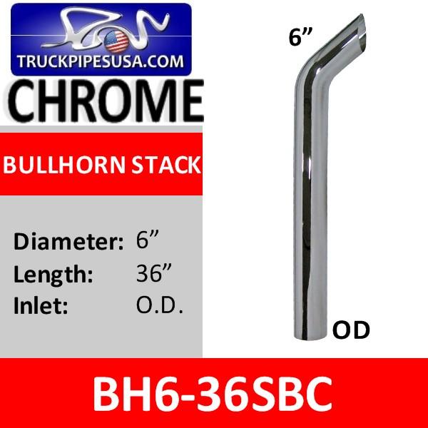 "5/"" x 36/"" OD Bull Hauler Chrome Stack Pipe"