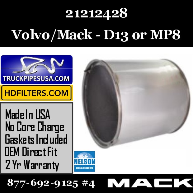 21212428 Volvo DPF for D13 / MP8 Engine