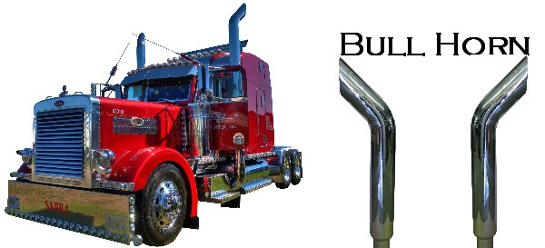 Chrome Stacks For Semi Trucks : Bullhorn stacks bull horn exhaust pipes