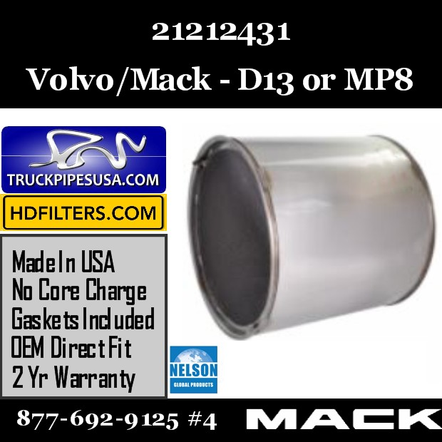 21212431 Volvo DPF for D13 / MP8 Engine