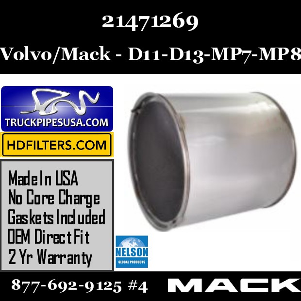 21471269 Volvo/Mack DPF for D11 / DD13 / MP7 / MP8 Engine