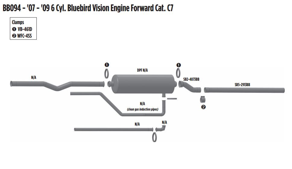 2007-2009 6 Cyl Bluebird Vision Engine Forward CAT C7