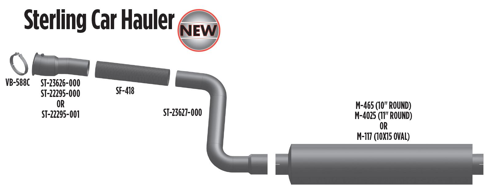 Sterling Car Hauler Exhaust Pipes