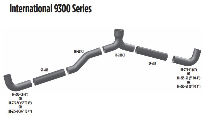 international 9300 exhaust pipes
