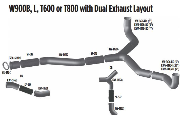 kenworth w900b dual exhaust layout
